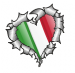 Ripped Torn Metal Heart with Waving Italy Italian Country Flag Motif External Car Sticker 105x100mm